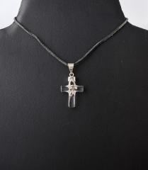 Anhänger Bergkristall Kreuz mit Engel