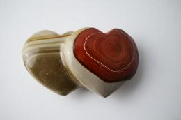 Polychrom Jaspis Doppel-Herz