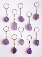 50 keychain amethyst tumbled stones
